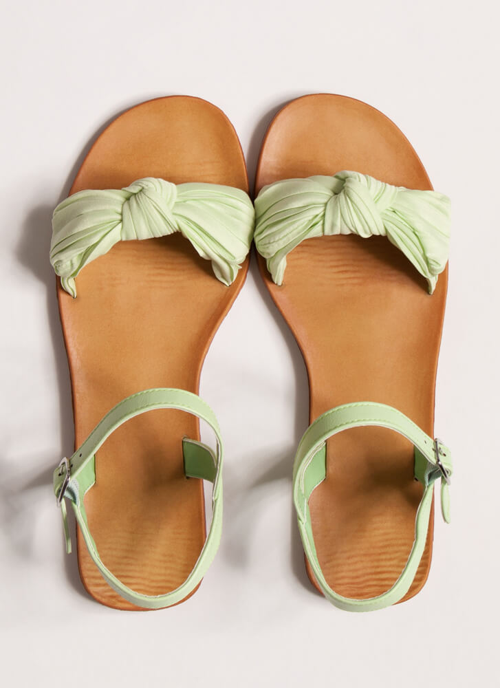 Bow You Knotted Pleated Sandals MINT