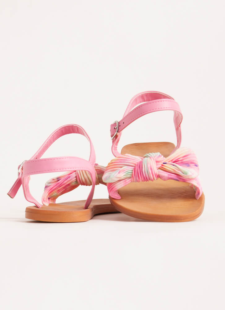Bow You Knotted Pleated Tie-Dye Sandals PINK