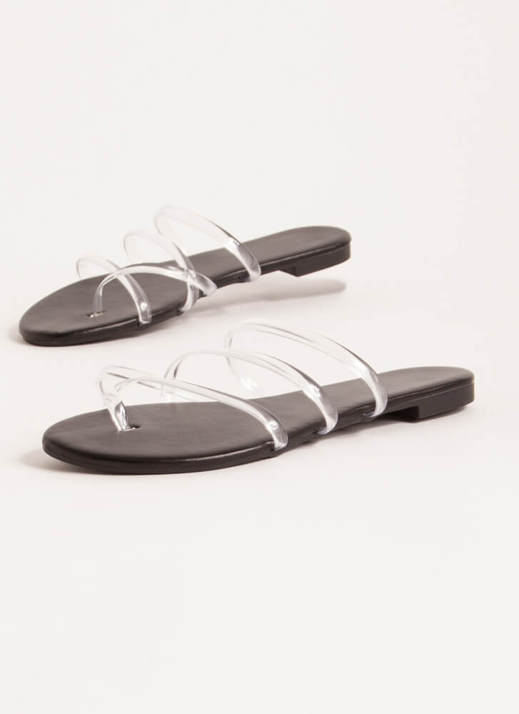 Funday Clear Jelly Strap Sandals BLACK