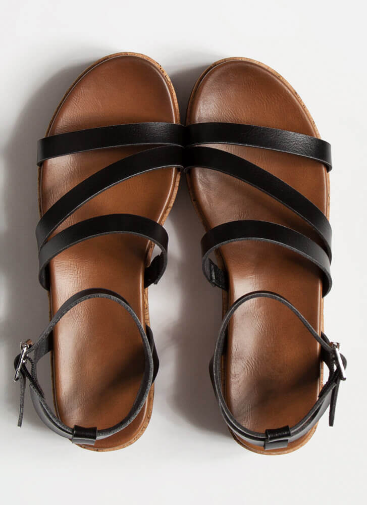 Strappy To Be Here Platform Sandals BLACK