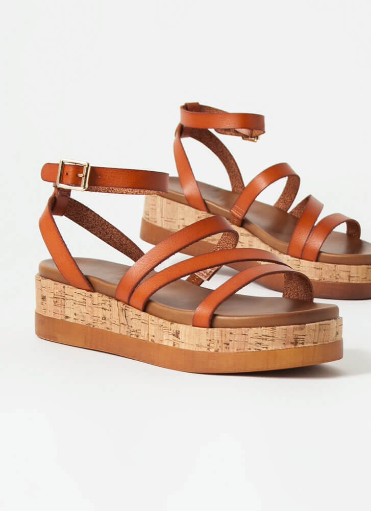 Strappy To Be Here Platform Sandals COGNAC