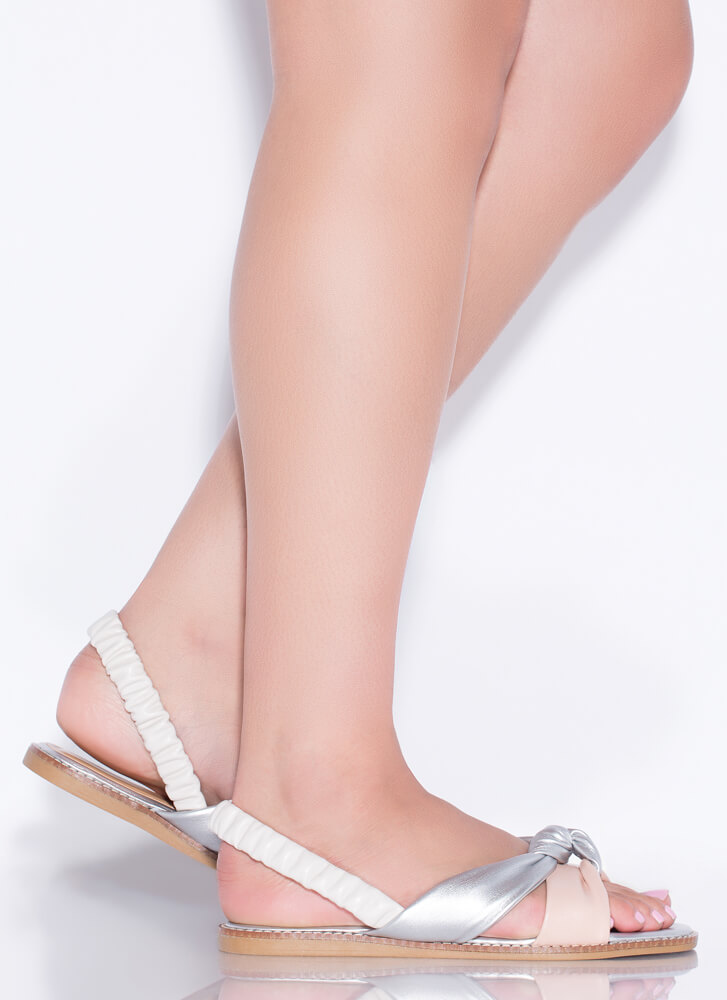 Knot Staying Home Tri-Color Sandals BLUSH