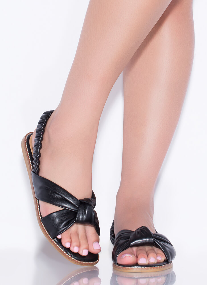 Knot Staying Home Faux Leather Sandals BLACK