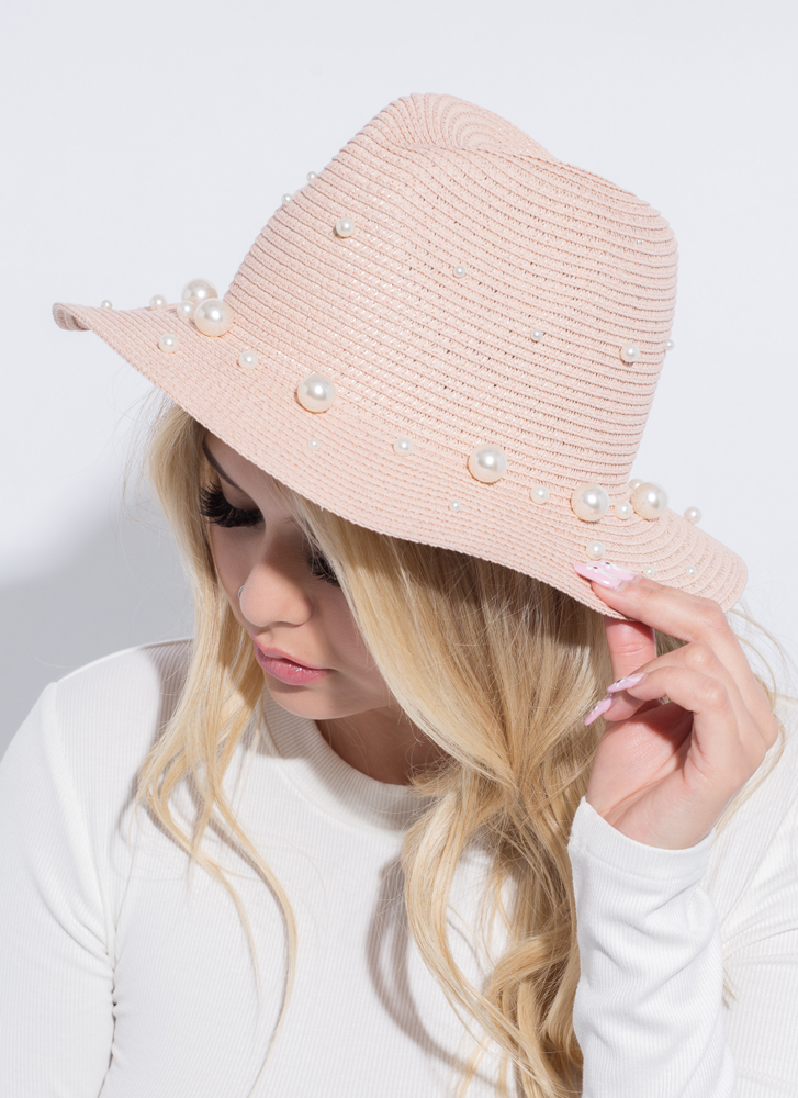 Girls In Pearls Woven Straw Hat MAUVE