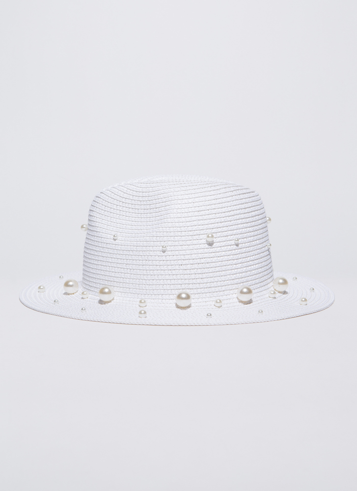 Girls In Pearls Woven Straw Hat WHITE