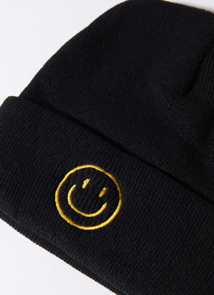 Gimme A Smile Happy Face Knit Beanie BLACK