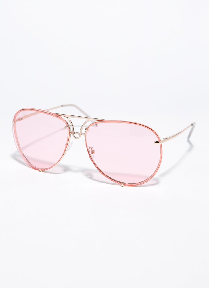 Down To The Wire Aviator Sunglasses PINK