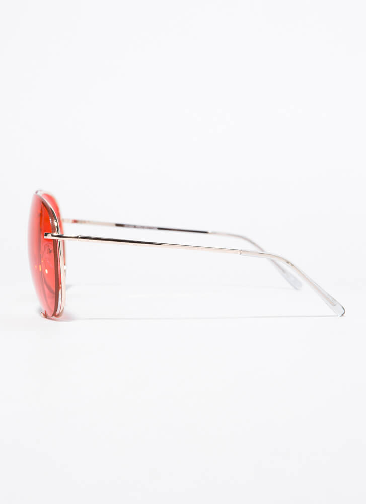 Down To The Wire Aviator Sunglasses RED
