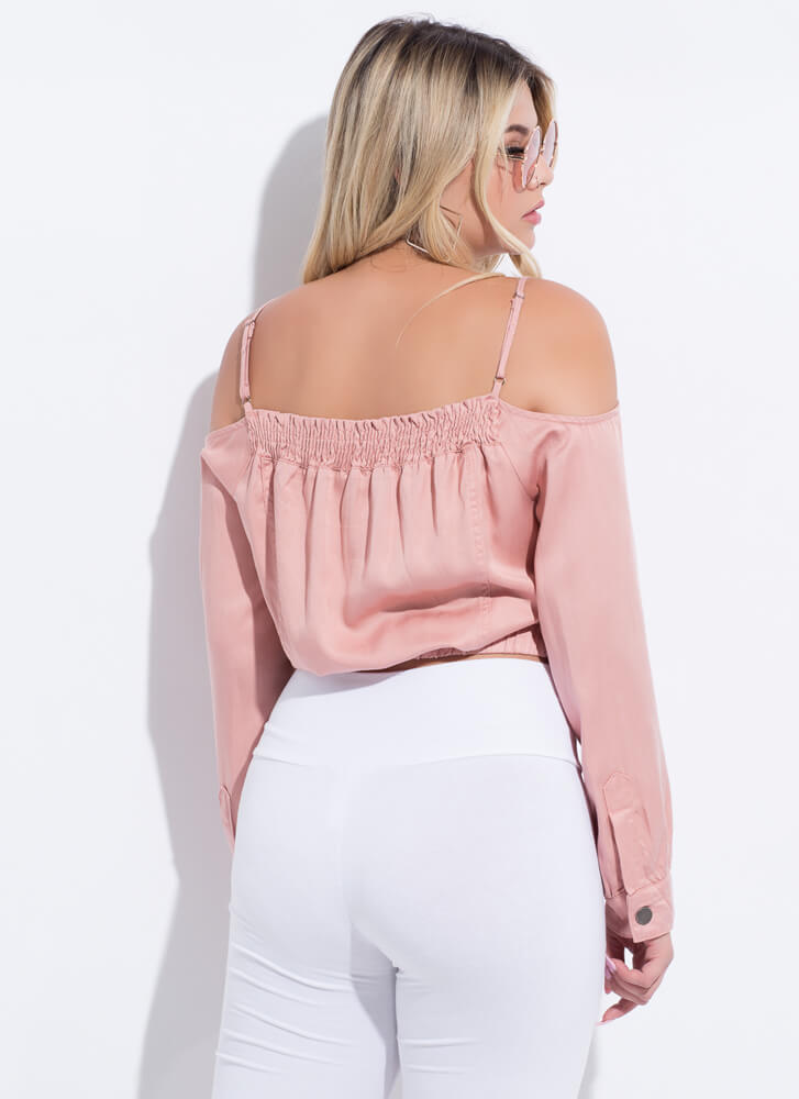 Give Me The Cold-Shoulder Button-Up Top BLUSH