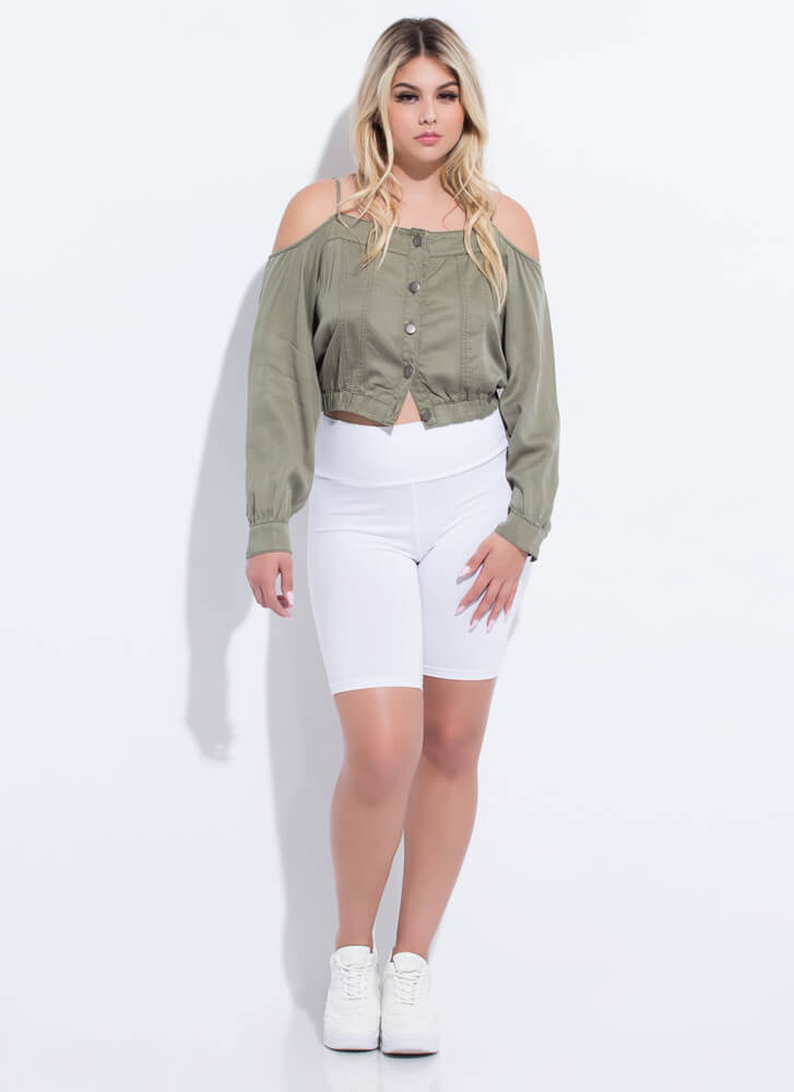 Give Me The Cold-Shoulder Button-Up Top OLIVE
