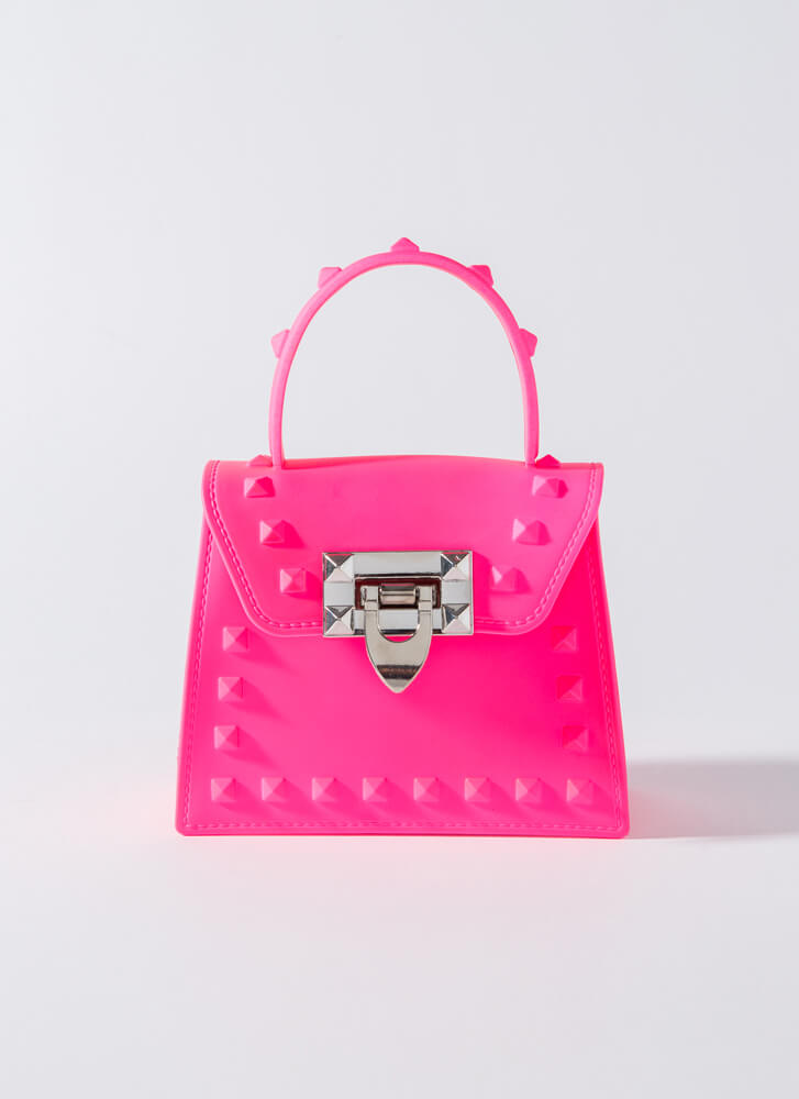 Neon Sign Studded Jelly Micro Purse PINK