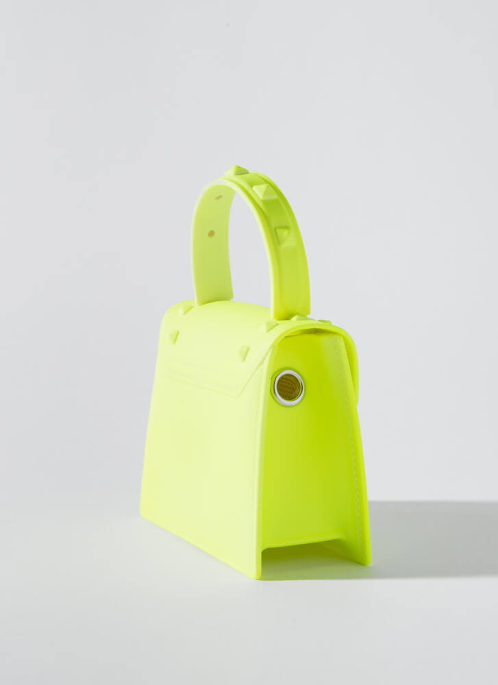 Neon Sign Studded Jelly Micro Purse YELLOW