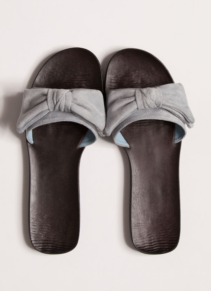 Bow My Own Way Faux Suede Slide Sandals BABYBLUE