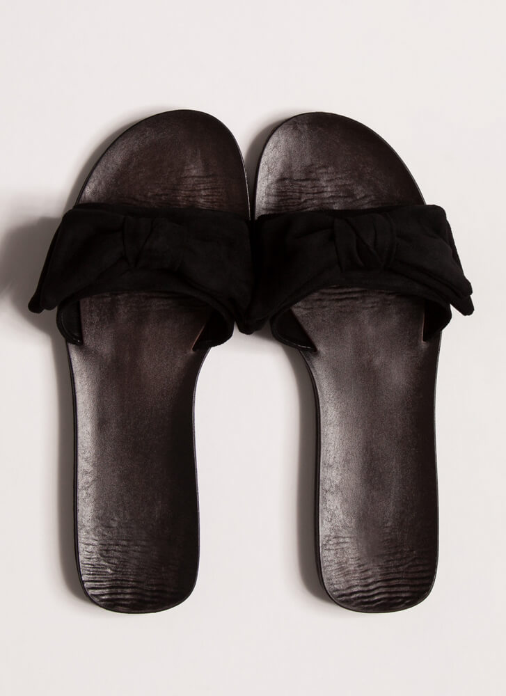 Bow My Own Way Faux Suede Slide Sandals BLACK