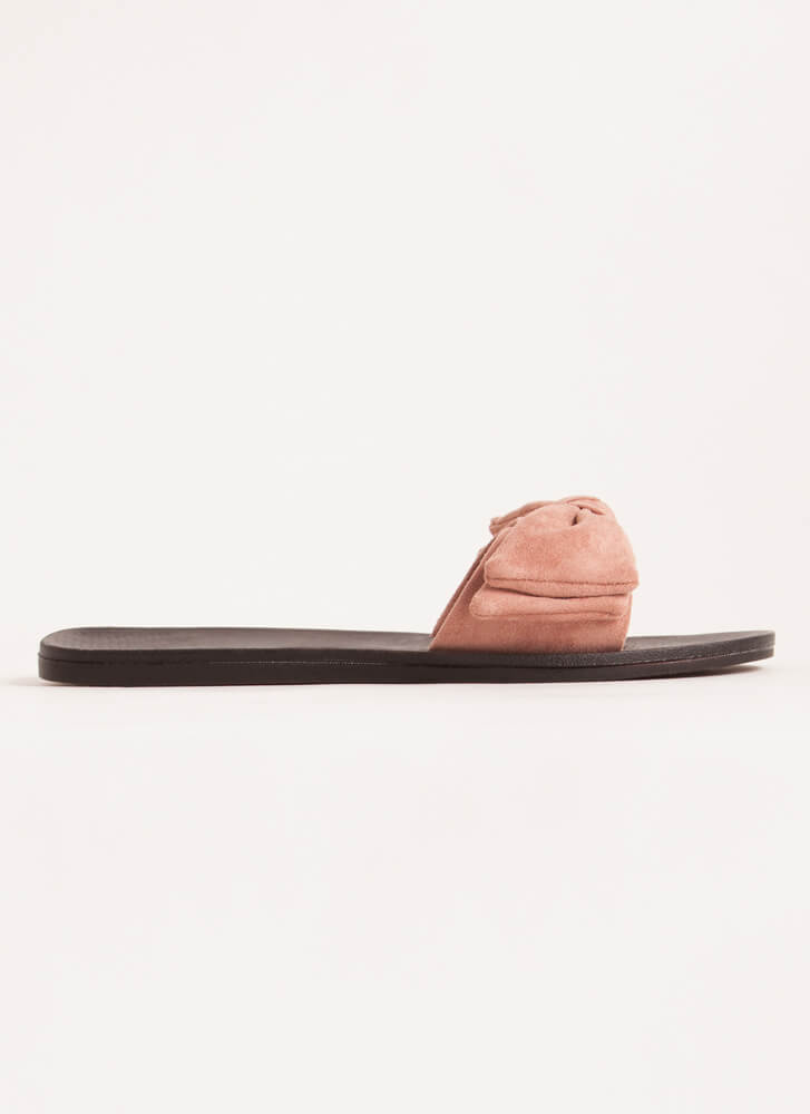Bow My Own Way Faux Suede Slide Sandals BLUSH