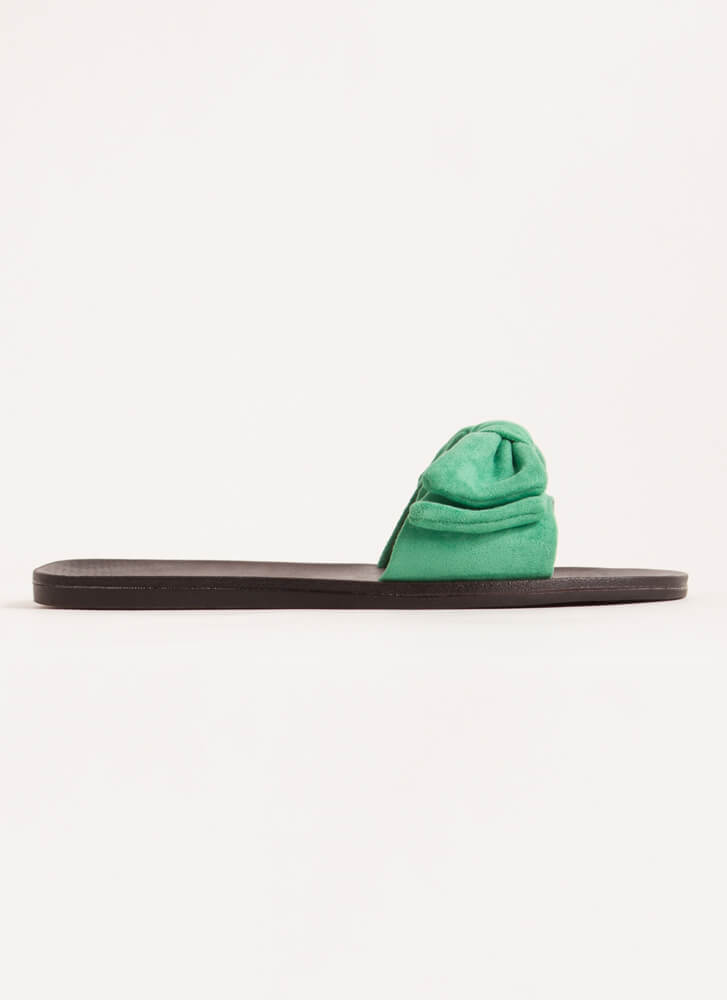 Bow My Own Way Faux Suede Slide Sandals GREEN