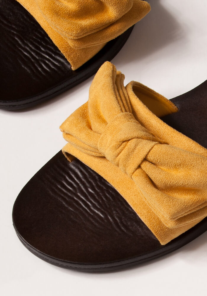 Bow My Own Way Faux Suede Slide Sandals MANGO