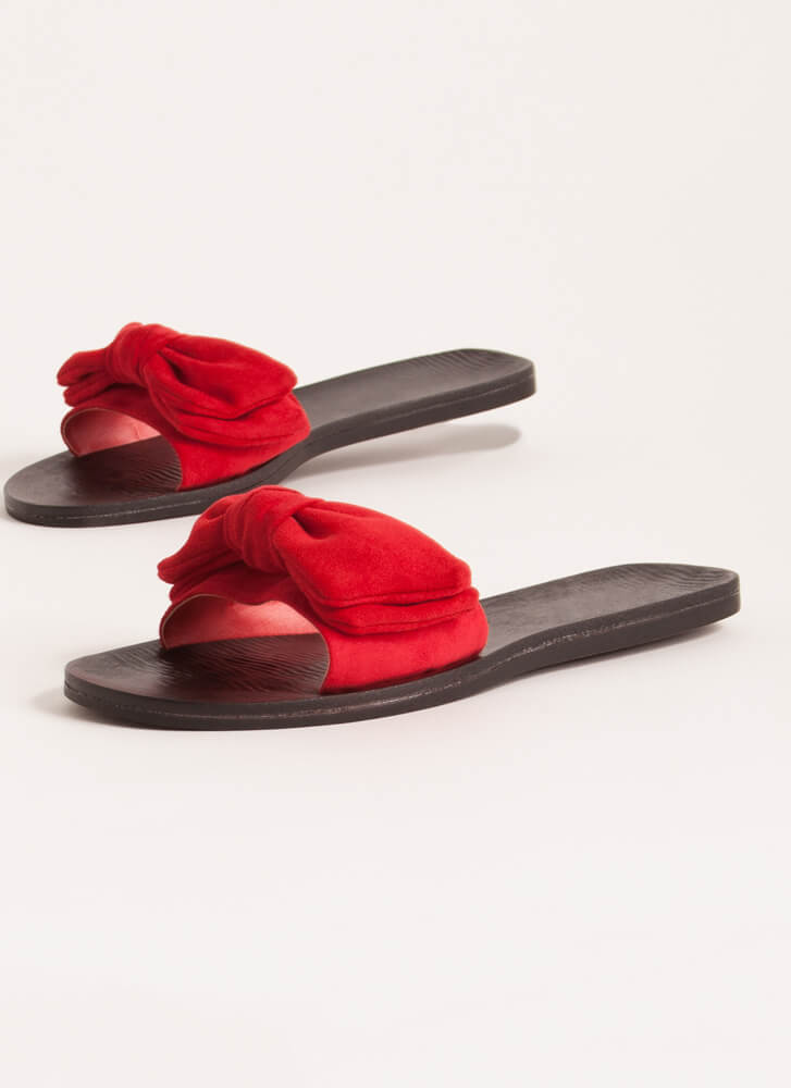 Bow My Own Way Faux Suede Slide Sandals RED
