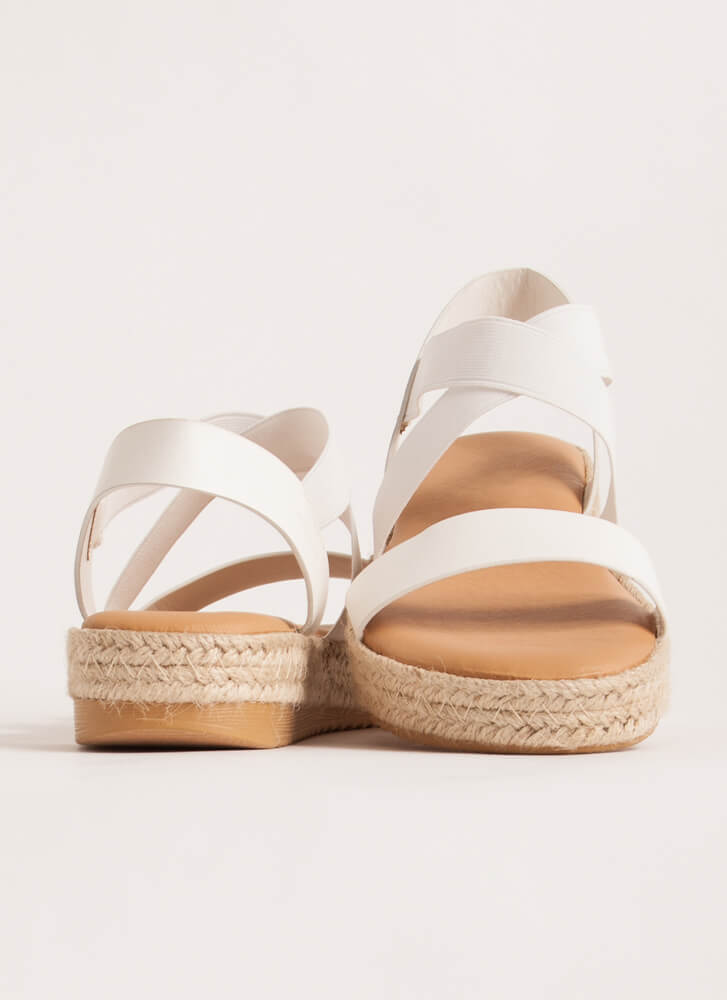 Great Outdoors Banded Braided Sandals WHITE