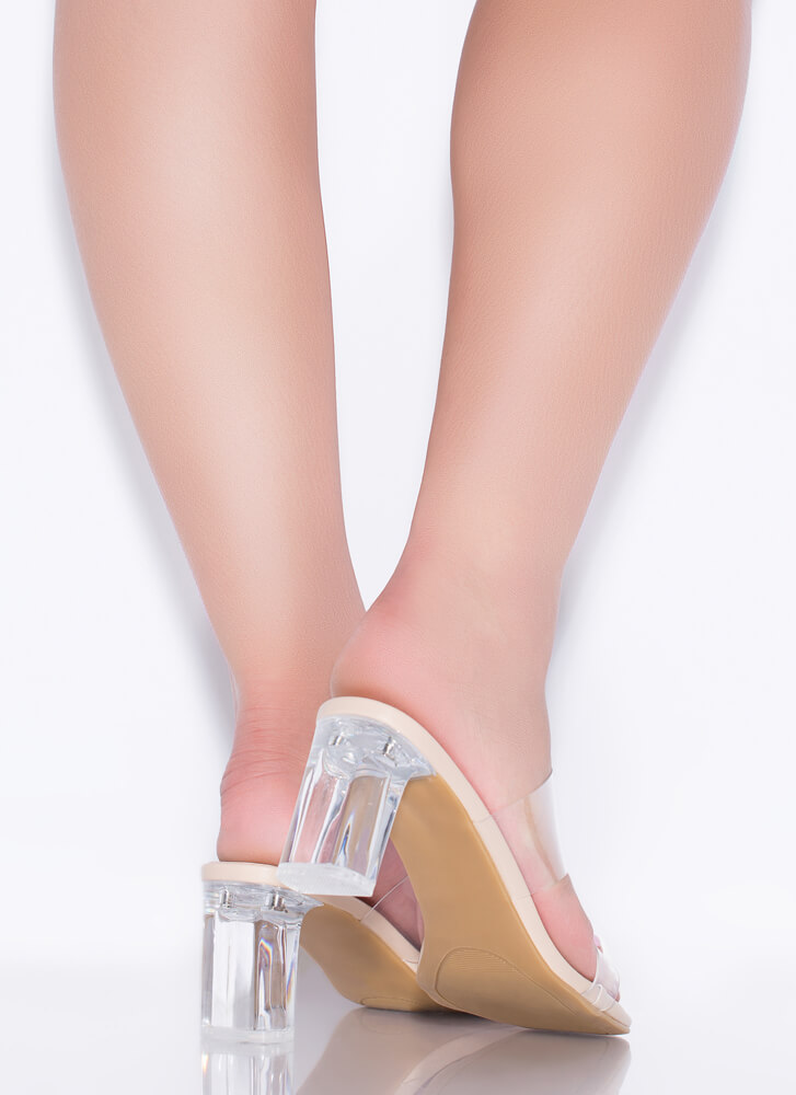 Clear As Day Faux Leather Lucite Heels NUDE