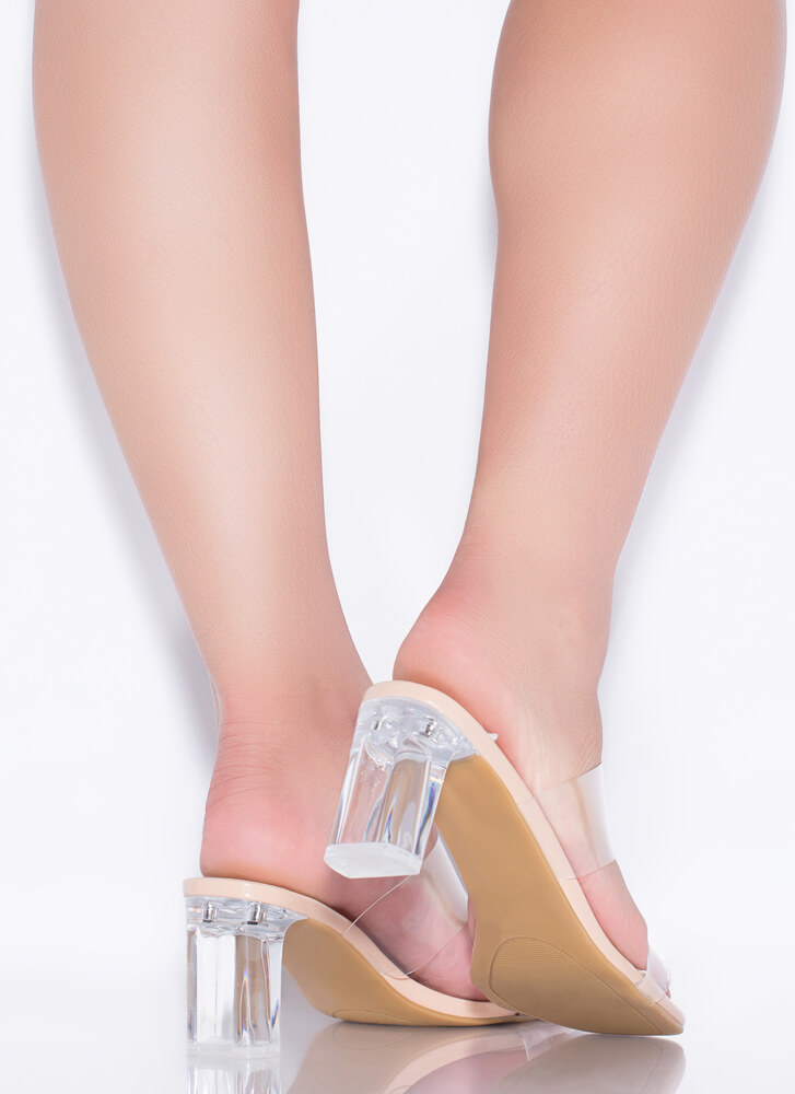 Clear As Day Faux Patent Lucite Heels NUDE