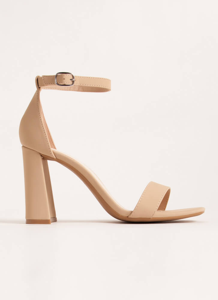 Just Right Chunky Faux Nubuck Heels NUDE