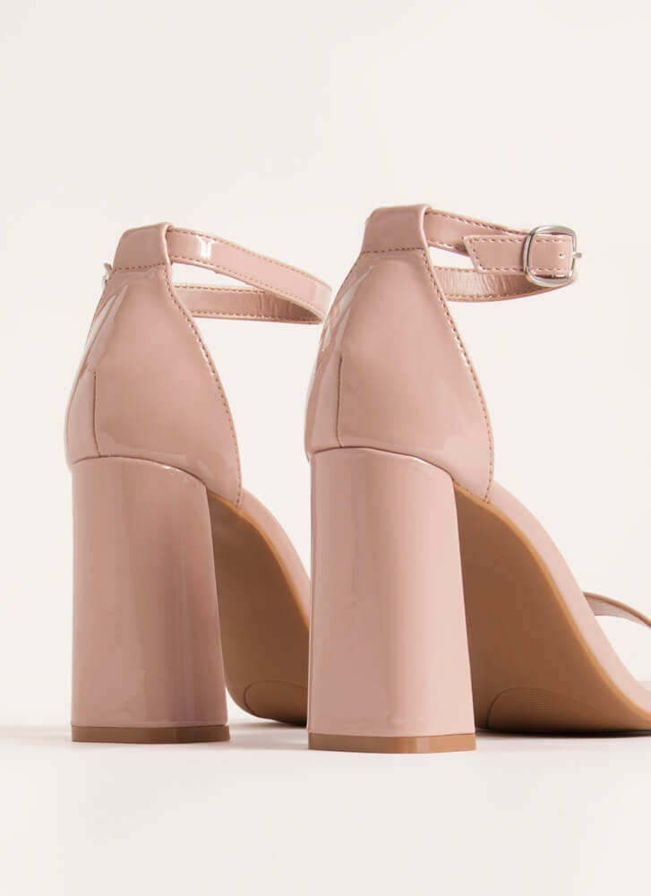 Just Right Chunky Faux Patent Heels DARKBLUSH