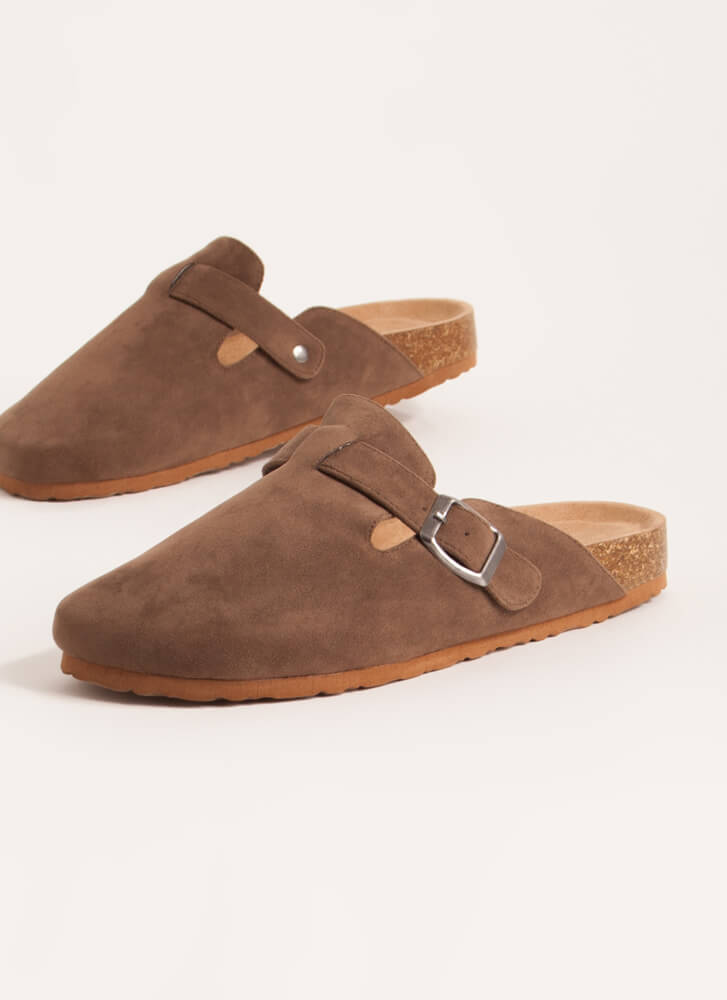 Feel At Home Buckled Moccasin Slides TAUPE