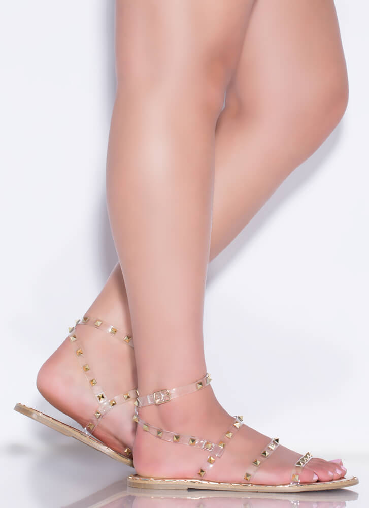 Studs On Studs Clear Strap Sandals GOLD
