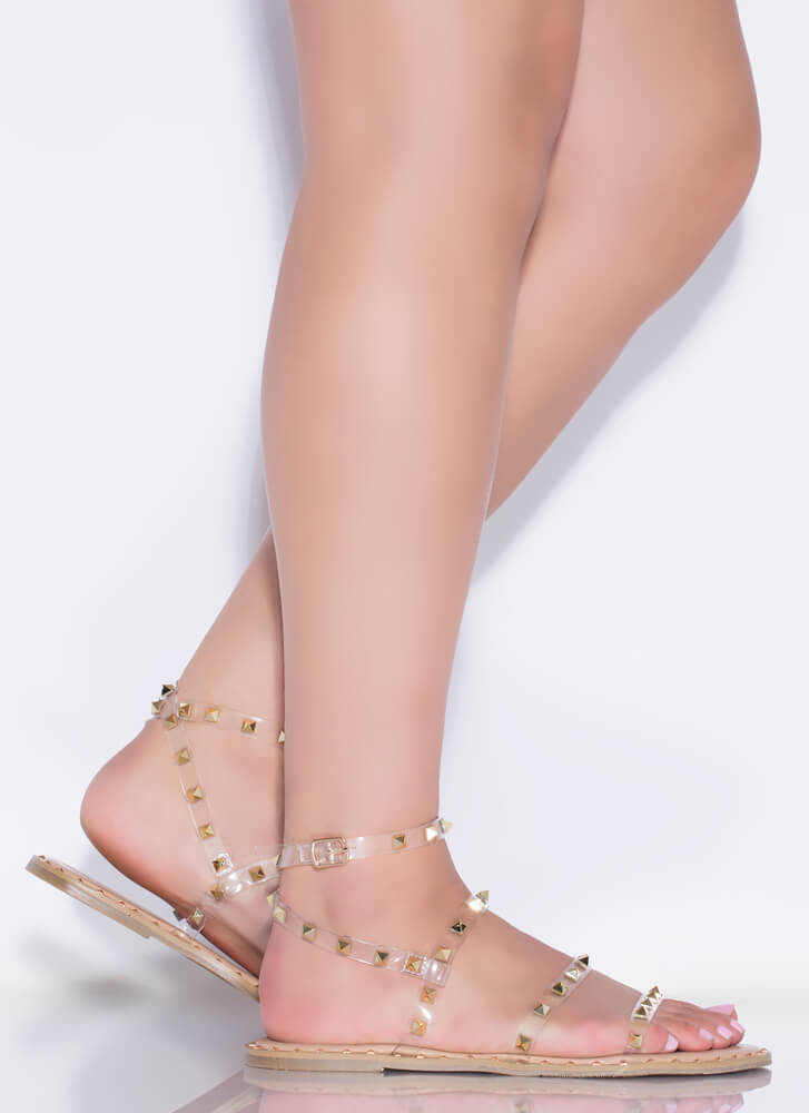 Studs On Studs Clear Strap Sandals NUDE