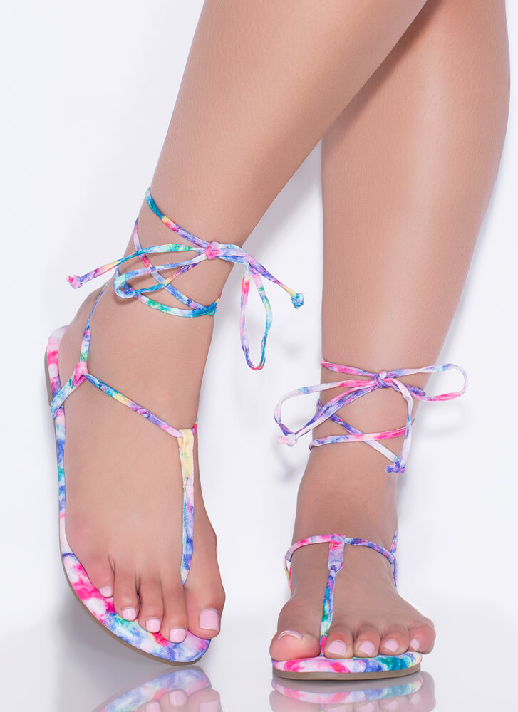 Fits Me To A T-Strap Lace-Up Sandals MULTI