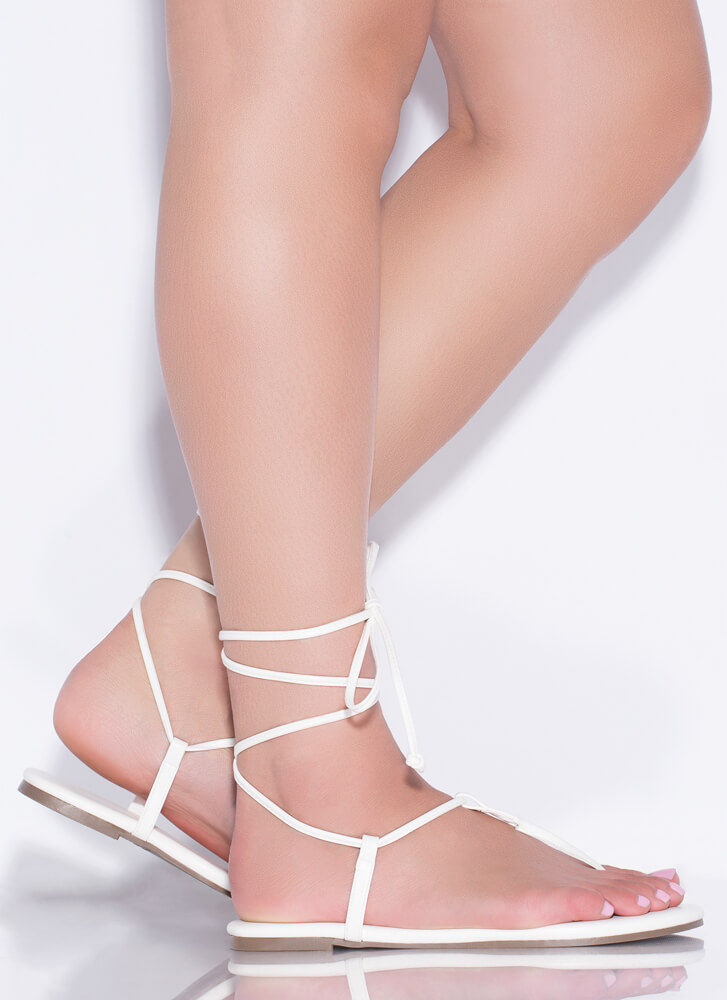 Fits Me To A T-Strap Lace-Up Sandals WHITE
