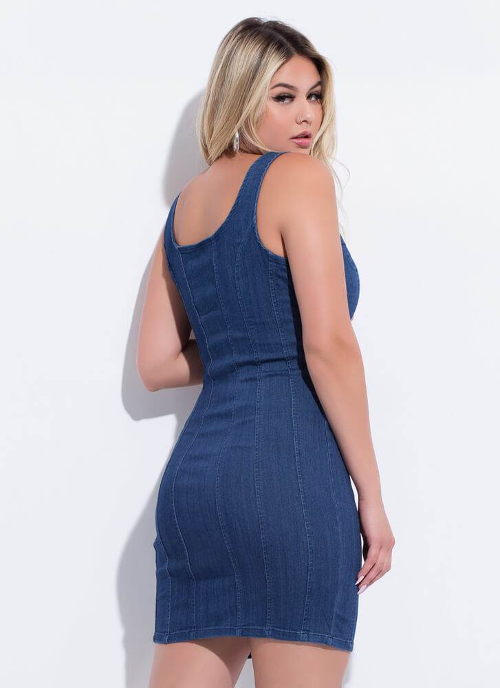 How Low Can You Go Zip-Up Denim Dress DKBLUE