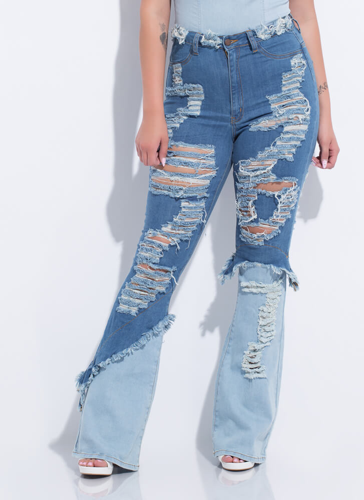 Flare And Tear Shredded Two-Toned Jeans MEDBLUE