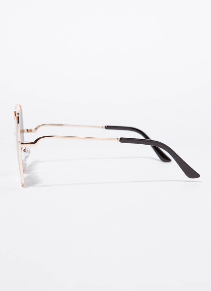 Extra Flare Cut-Out Wire-Rim Sunglasses BLACK