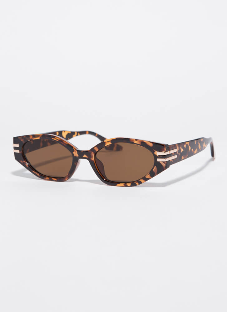 Stay Cool Shiny Stripe Accent Sunglasses TORT