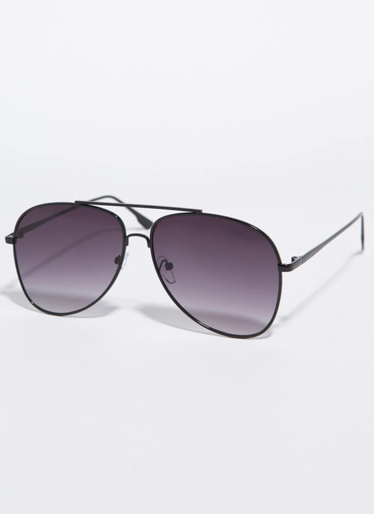 Fly With Me Aviator Sunglasses BLACK