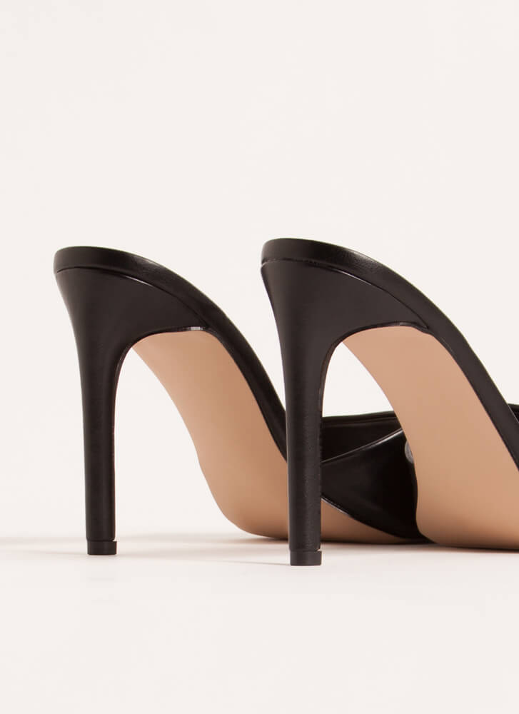 Out Tonight Faux Leather Mule Heels BLACK