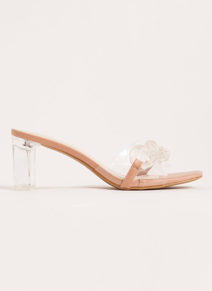 Clear Contender Chain-Link Lucite Heels CLEAR