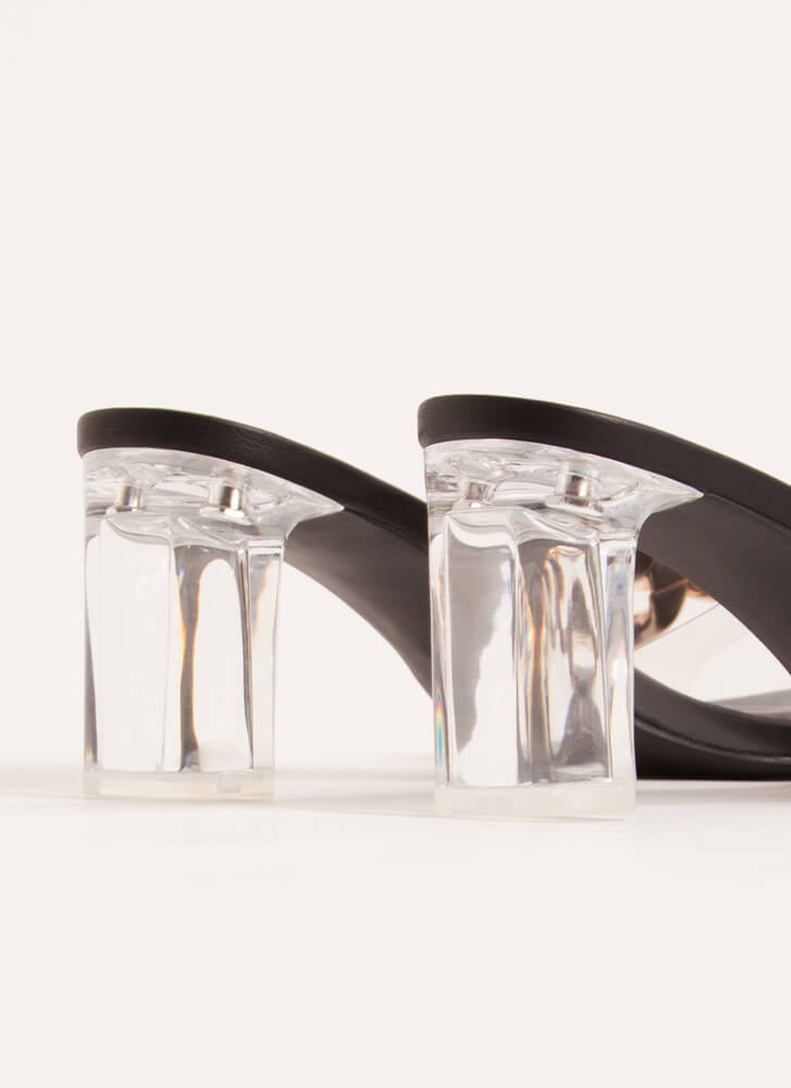 Clear Contender Chain-Link Lucite Heels GOLD