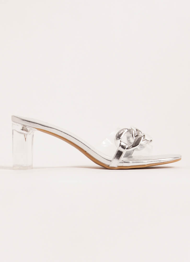 Clear Contender Chain-Link Lucite Heels SILVER