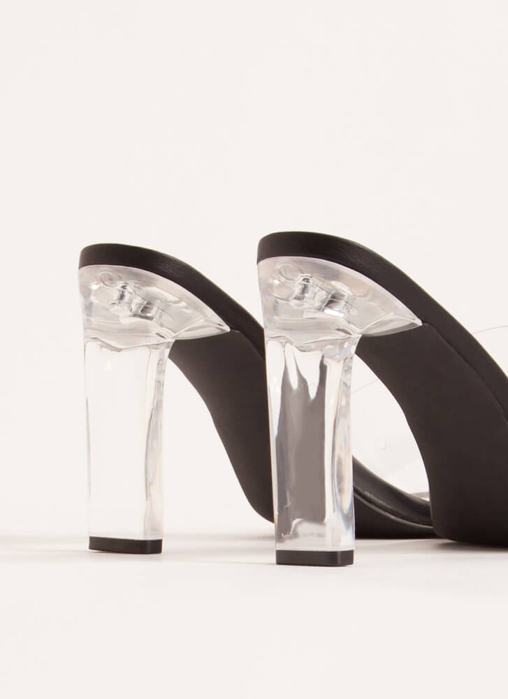 Let Me Be Clear Lucite Illusion Heels BLACK