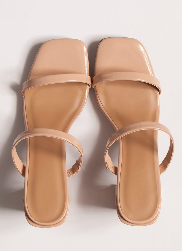 It Takes Two Faux Patent Block Heels NUDE