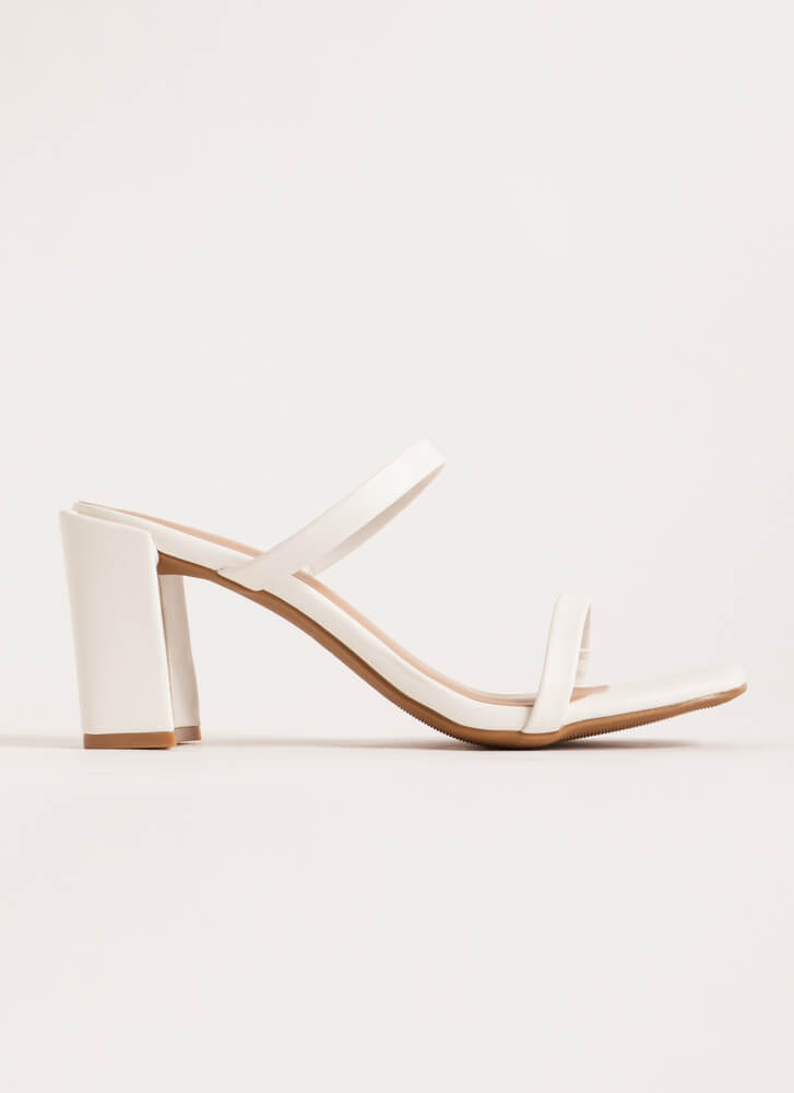 It Takes Two Faux Leather Block Heels WHITE