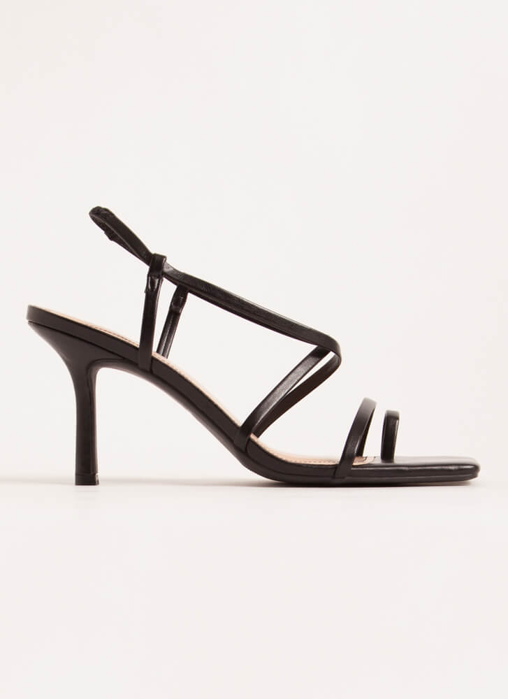 Night Out On The Town Strappy Heels BLACK