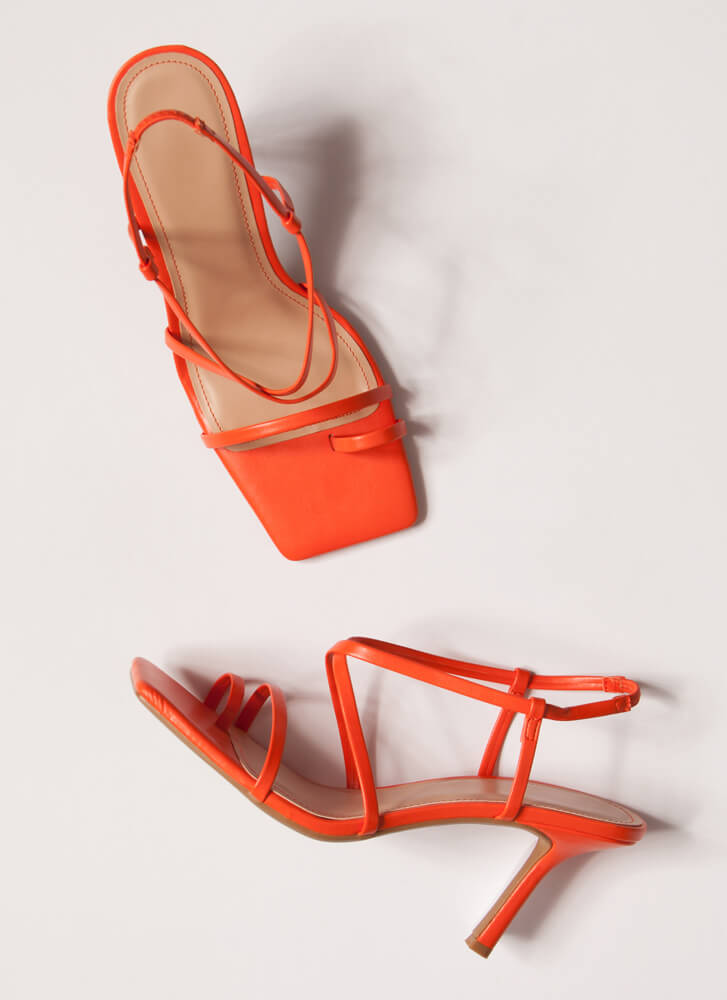 Night Out On The Town Strappy Heels TANGERINE