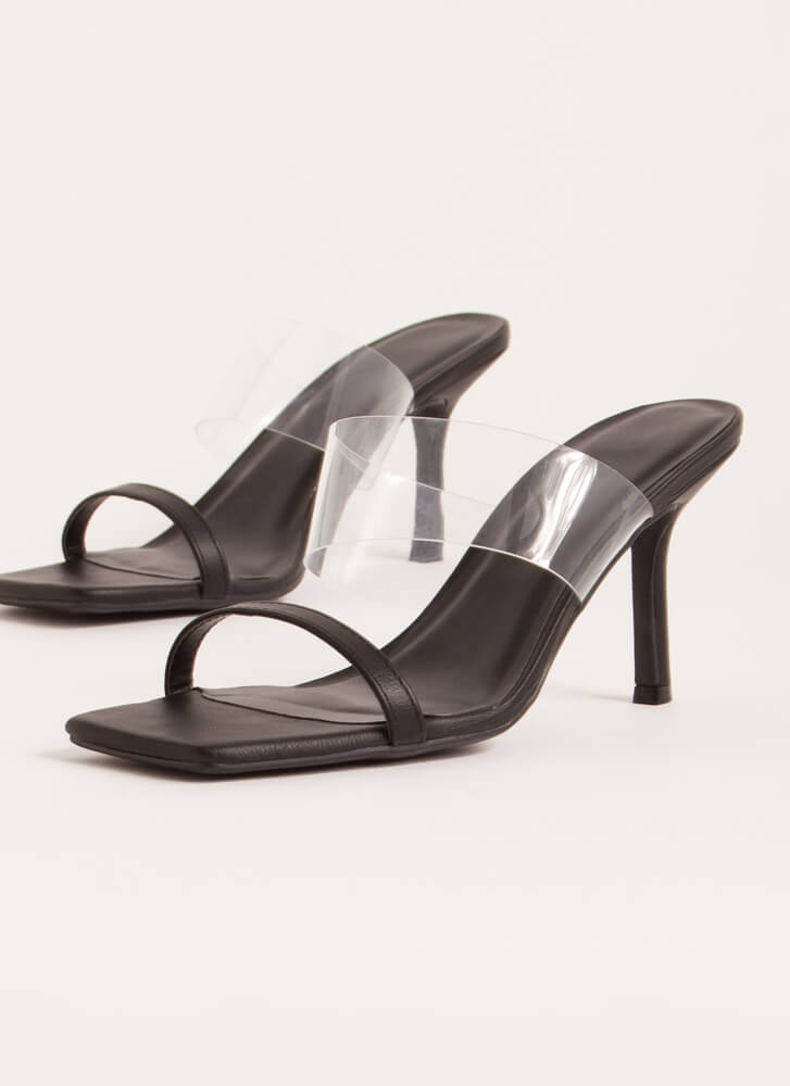 Illusion Clear Strap Faux Leather Heels BLACK