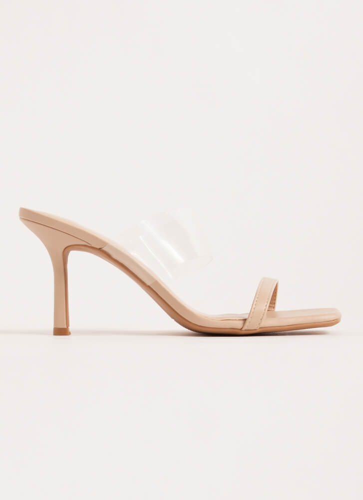 Illusion Clear Strap Faux Leather Heels NUDE