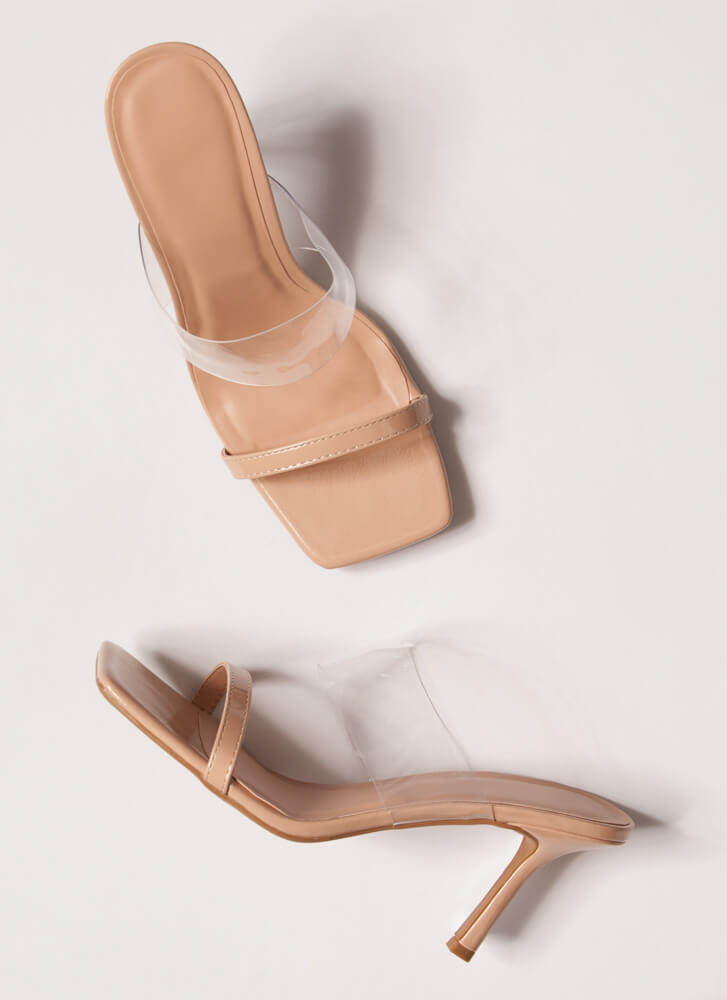 Illusion Clear Strap Faux Patent Heels NUDE