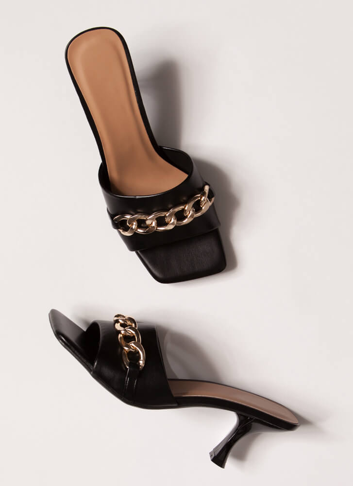 Links And The City Chained Mule Heels BLACK